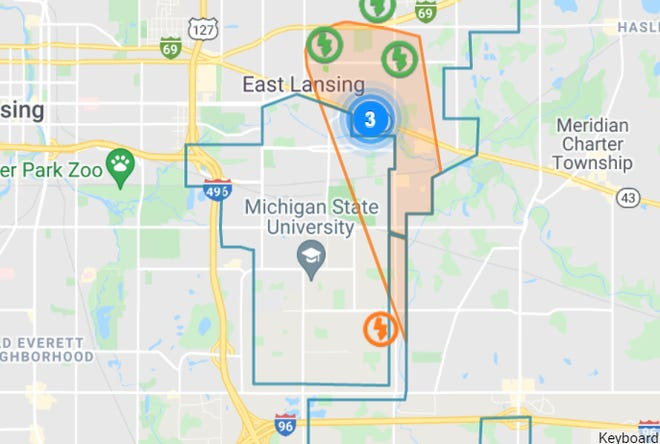 More than 2,700 people are without power in East Lansing, according to the Lansing Board of Water and Light.