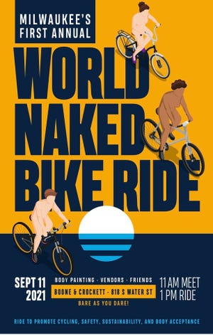 """The first Milwaukee World Naked Bike Ride is scheduled for Sept. 11. Organizer John Jankowski said the goal of the """"peaceful protest"""" is to """"promote body acceptance."""""""