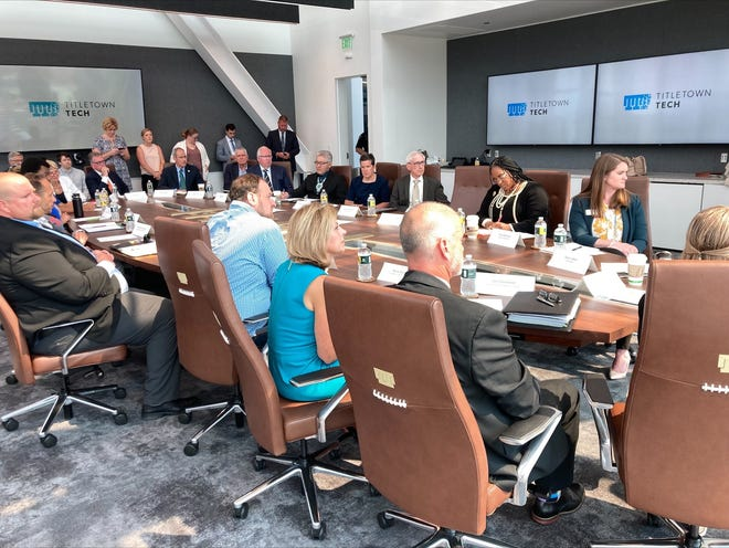 Northeastern Wisconsin business and education leaders joined WEDC Secretary Missy Hughes, Gov. Tony Evers and DWD Secretary Amy Pechacek (not pictured) to discuss allocating $130 million of American Rescue Plan Act funding to develop regional solutions to the state's workforce shortage.
