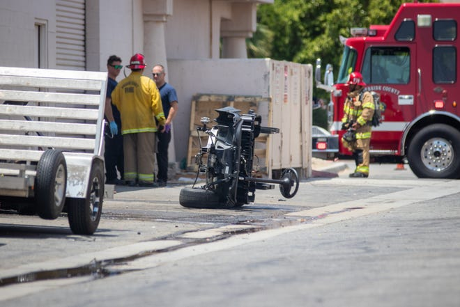 The Hazmat Response Team and Fire Fighters on the site of the spilled material in Palm Desert, June 14, 2021.