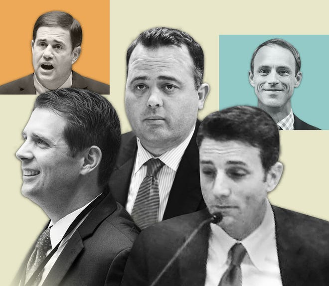 Illustration of Mike Liburdi, Doug Ducey, Kirk Adams, Grant Nulle and Danny Seiden