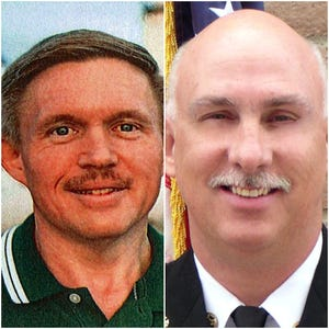 Matthew Miller, pilot with Falcon Executive Aviation (left), and Jeff Piechura, air tactical group supervisor.