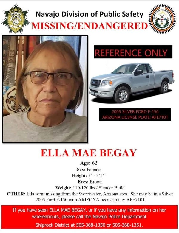 Missing person poster for Ella Mae Begay