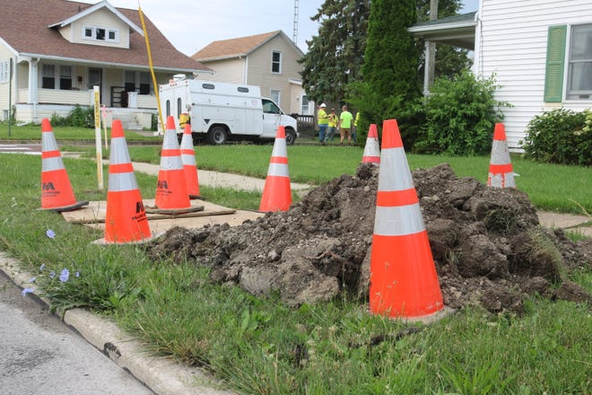Crews contracted with Columbia Gas began work this week on a project to replace and install about 10,500 feet of natural gas pipeline in Port Clinton's third ward, primarily along Fulton Street, as pictured here Wednesday.
