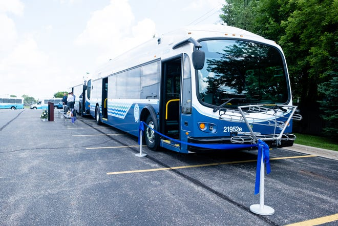 Blue Water Area Transit unveiled its first 100% electric transit buses during a ceremony Wednesday, July 14, 2021.