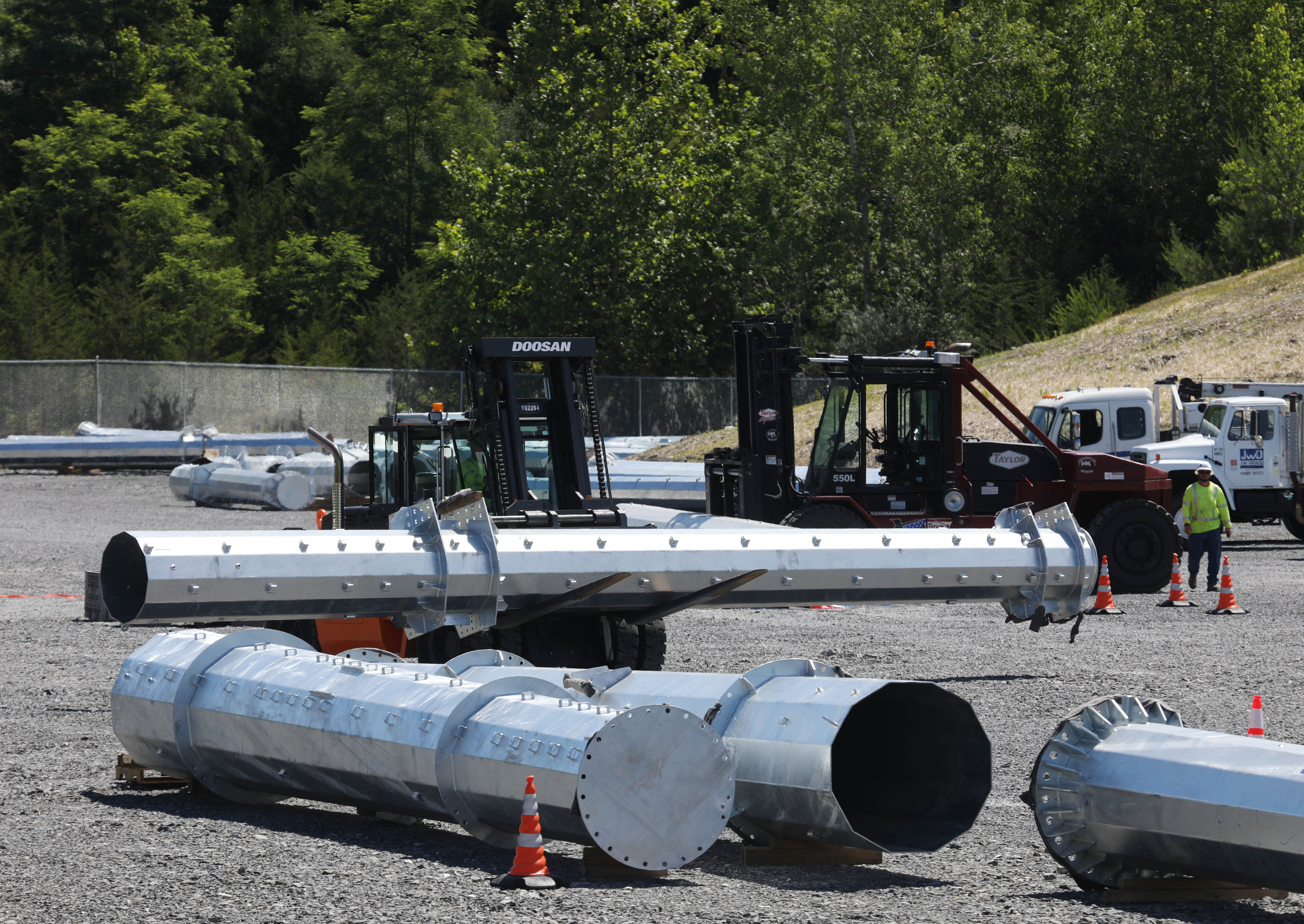 A New York Transco site in Claverack where materials for power transmission line upgrades are stored and distributed before installation on June 24, 2021.
