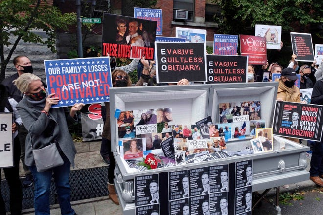 In October 2020, families of COVID-19 victims who died in New York nursing homes gather in front of the Cobble Hill Health Center to demand that New York Gov. Andrew Cuomo apologize for his response to clusters of cases in Brooklyn nursing homes.
