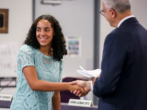New student advisor Grace Caldwell is sworn in on Tuesday, July 13, 2021 at the Salem-Keizer School Board meeting in Salem.
