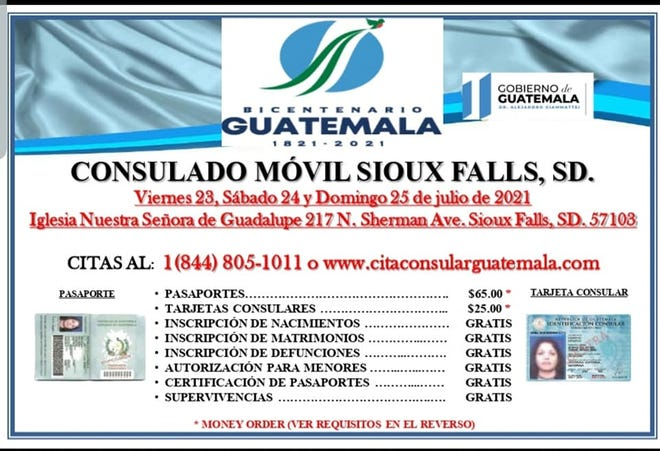 Services offered by the mobile consulate of Guatemala that's coming to Sioux Falls on July 23.