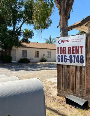 Sign for Prime Properties Management for rentals in Tulare, CA in July 2021.