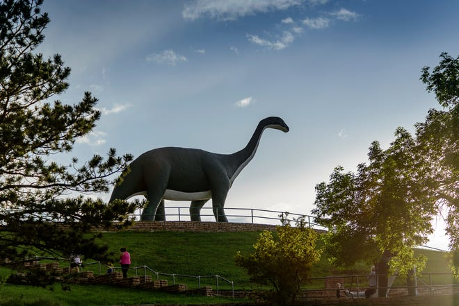 The towering concrete residents Dinosaur Park overlooking Rapid City, South Dakota, celebrate the region's many paleontological finds.