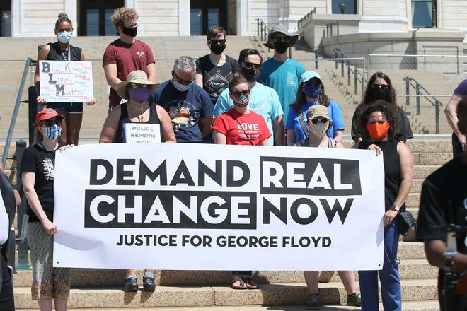 A demonstration for George Floyd on June 12, 2020, outside the Minnesota Capitol in St. Paul.