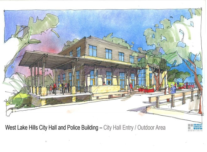 This rendering shows the proposed new West Lake Hills City Hall and police building that the bond would help pay for. The city is considering putting this bond, along with a bond to pay for road and drainage projects, on the ballot in November.