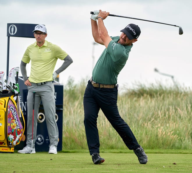 Jul 15, 2021; Sandwich, United Kingdom;  Brian Harman plays his shot from the 11th tee during the first round of the Open Championship golf tournament. Mandatory Credit: Peter van den Berg-USA TODAY Sports