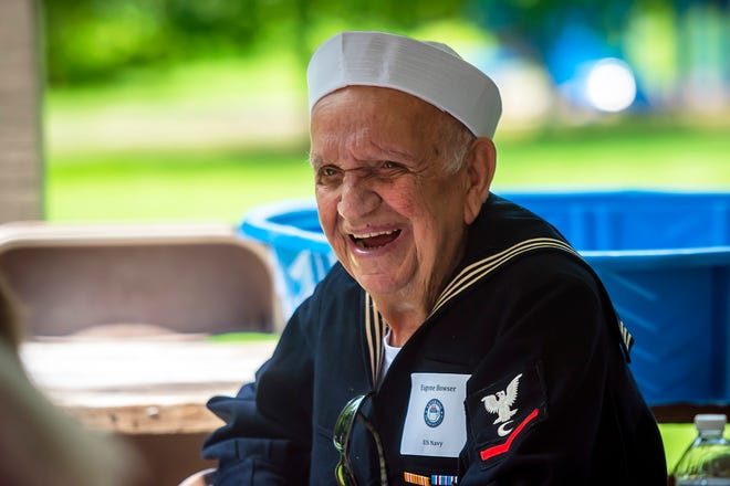 World War II veteran Eugene Bowser is all smiles as more than 100 folks in attendance at the Veterans Breakfast Club sing Happy 95th Birthday to him. The club has resumed its in-person gatherings for local veterans. This was held at Two Mile Run Park in Brighton Township Wednesday.