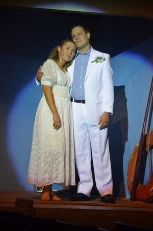 """A wedding planned for an exotic Greek isle creates drama in """"Mamma Mia!"""" which continues this weekend at Brownwood's Lyric Theatre. A 2:30 p.m. matinee will be at 2:30 p.m. Sunday, July 18. The musical's storyline is built around the hit tunes of the Swedish group ABBA. The engaged couple are portrayed by Emily Borbon as Sophie and Drew Ervin as Sky. The show continues  next weekend with two shows Friday, a show Saturday night, and wraps up with another Sunday, July 25 matinee. Tickets may be reserved online at www.brownwoodlyrictheatre.com."""