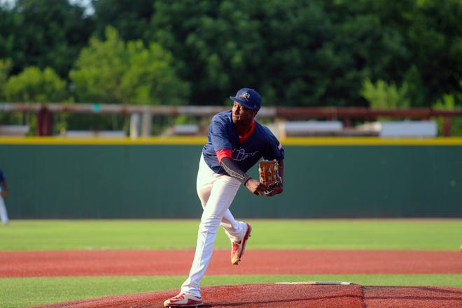 Salina Stockade's Collins Robinson pitched seven innings and struck out nine batters, while picking up the win.