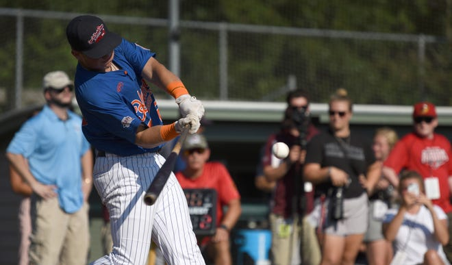 Hyannis designated hitter Hunter Goodman competes in the home run contest in 2019. Goodman was one of the biggest power threats on the Cape that season.
