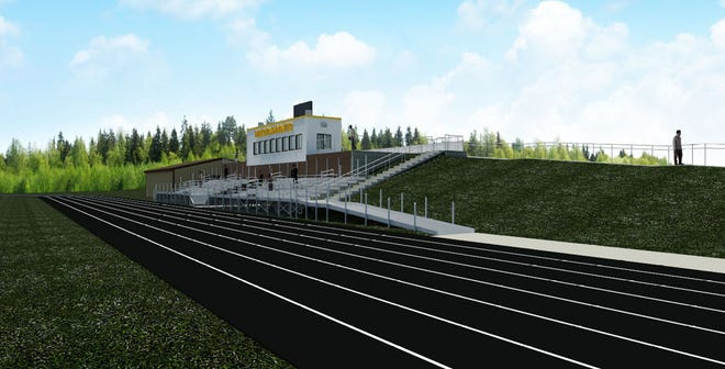 A rendering of the upgrades to S.A. McClutchey Field in Pellston show the upgraded track, berm and walkway, along with the viewing decks near the press box.