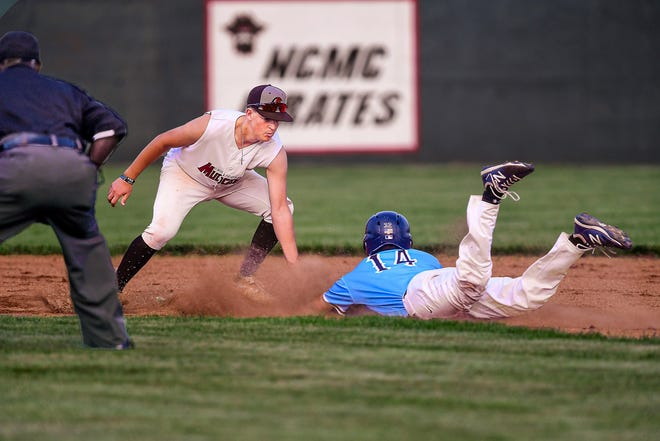 Chillicothe Mudcats second baseman Blake Falor applies the tag on Sedalia baserunner Duffin Makings on a second-inning steal attempt during the teams' Wednesday (July 14, 2021) MINK League baseball game in Chillicothe. Sedalia won, 7-2.