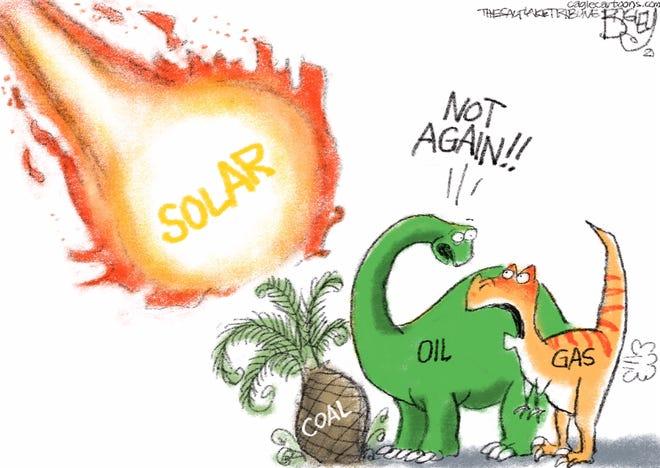 Extinct Fuels cartoon  by Pat Bagley, The Salt Lake Tribune, UT