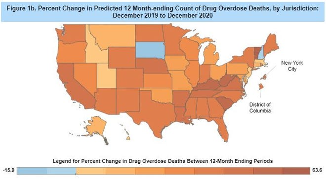 Ohio's 21.9% jump in drug overdose deaths last year actually was among the better numbers in the U.S., the Centers for Disease Control and Prevention reported.