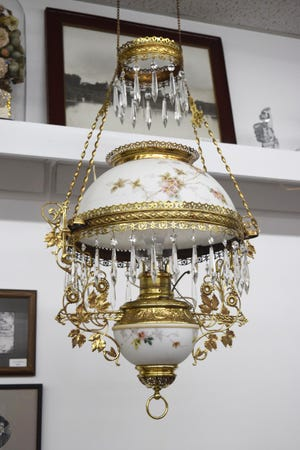 See this freshly cleaned and polished parlor lamp at the Polk County Museum in Crookston.