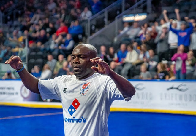 Kansas City Comets player/coach Leo Gibson celebrates a goal in a game last season. Gibson announced Wednesday night that he will return for the 2021-22 season as a player/coach.