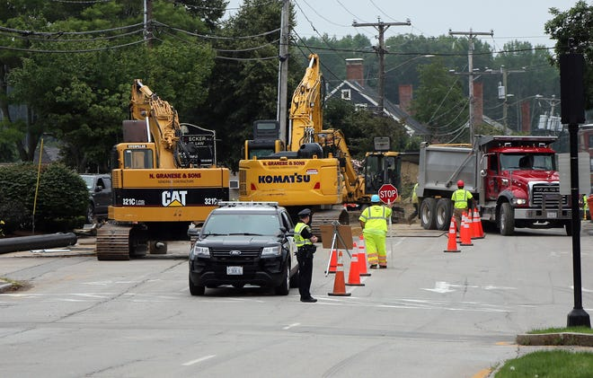 Work continues on Main Street in Dover as old water main pipes are replaced with new ones causing traffic jams and frustration for drivers.