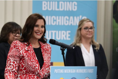 Michigan Gov. Gretchen Whitmer announces a new state apprenticeship program on Thursday, July 15, 2021, at local union facility in Grand Rapids, Mich. The program, dubbed MiSTAIRS, offers grants to Michiganders who enter apprenticeships.