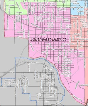 This map shows the boundaries of the Hutchinson City Council's Southwest District