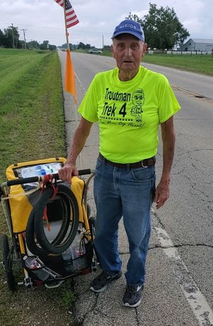 Dean Troutman somewhere in between Chenoa and Fairbury on the fifth day of his yearlong trek to raise money for St. Jude Children's Hospital. The 90-year-old Princeville man plans to walk about 10 miles each day over the course of a year as he goes from Illinois to North Carolina to Texas and back.
