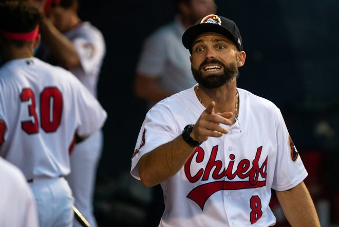 Peoria manager Chris Swauger motions to a player during Peoria's 10-4 loss to Wisconsin at Dozer Park on Wednesday, July 14, 2021.