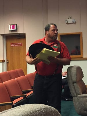 BS Ranch & Farm owner William Stanton leaves the Polk County Board meeting March 21, 2017, in Bartow after commissioners discussed the cease-and-desist of his business.