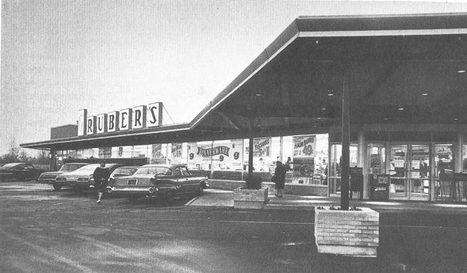 This photo shows Gruber's Supermarket in Monroe as it looked in the 1960's. Warren and Leslie Gruber eventually operated seven Gruber locations in the area in addition to several Park-N-Snack restaurants and Gruber's ValuWorld in Carleton.