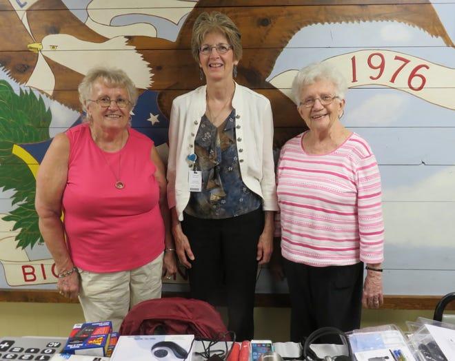 Posing at the Oriska Valley Seniors July 8 meetingin Oriskany Fallsare, from left, AlzadaBice, guest speaker Jean Roman andNancy Lewis.