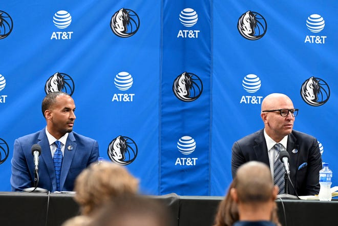 New Dallas Mavericks NBA basketball team general manager Nico Harrison, left, and new head coach Jason Kidd, right, are shown at an introductory press conference in Dallas, Thursday.
