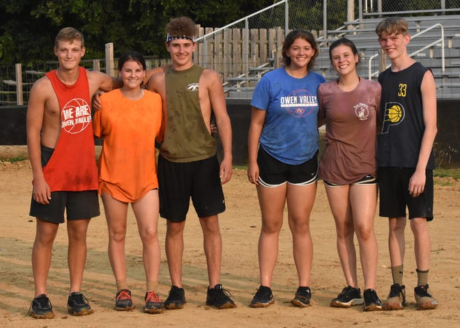 The 6 Amigos were the winner of the 12-15 age group at the Owen County Fair mud volleyball tournament. Team members include, from left, Kage Brown, Taylor York, Tim Harden, Makala Gomes, Katelyn Shelley and Garrett Minnick.
