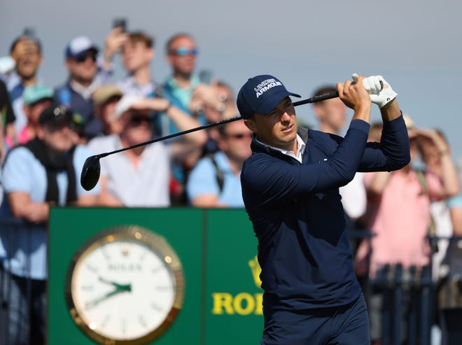 United States' Jordan Spieth play his tee shot at the 2nd during the first round British Open Golf Championship at Royal St George's golf course Sandwich, England, Thursday, July 15, 2021. (AP Photo/Ian Walton)