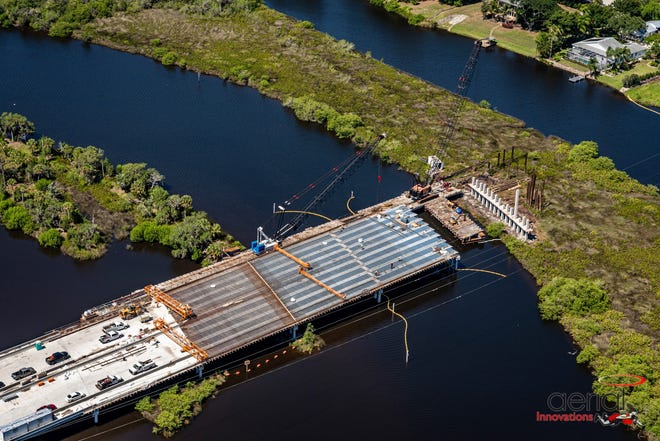 A photo by Aerial Innovations of the 44th Avenue East bridge that is under construction in Manatee County.