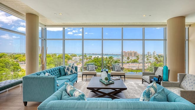 This fifth-floor condo in the Jewel tower at 1301 Main St. is being sold fully furnished.