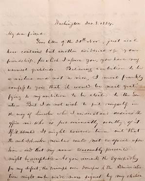 A copy of a Dec. 8, 1854 letter written by Illinois Congressman Richard Yates to Gen. James Ruggles about the 1854 U.S. Senate race. Abraham Lincoln was briefly in the balloting, but later withdrew.