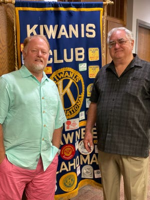 At left, John Winterringer, program chair for the Shawnee Kiwanis Club, stands with speaker Brian Blansett at a recent meeting.