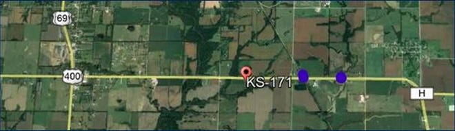 This map shows the locations of upcoming bridge repairs on highway K-171.