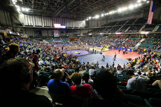 Wrestlers compete in the 2016 Kansas Kids Wrestling Championship inside the Stormont Vail Events Center.
