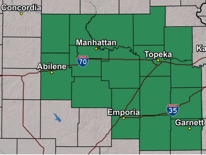 A flash flood watch was issued early Thursday morning for the county's shown in green on this map.