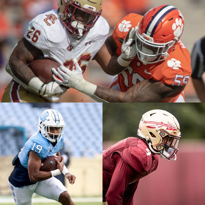 (From top) Clemson defensive tackle Jordan Williams, UNC running back Ty Chandler and FSU defensive back Cyrus Fagan.