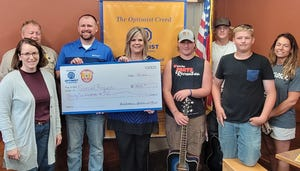 Watertown Optimist Club Winter Wonderland 2020 grants went to Kelly Jaderborg and Hank Roso for Midwest Bible Camp, $1000; Dustin Esche for Boy Scout Troop No. 209, $1000; Liz Christianson for the Boys & Girls Club, $600; and Jaime Stricker for Lake Area Zoological Society $1000. Members of the band Jaik — Konner Mark, Kale Davis and Jayden Fischer —are pictured on the right.