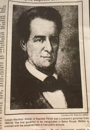 This portrait of Gov. Joseph Marshall Walker ran in the Jan. 8, 1989 edition of The Town Talk which detailed the origins and history of Walker.
