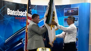 Corey Mason, left, succeeded Phil LoSchiavo as president of the Association of the United States Army Space Coast Chapter.